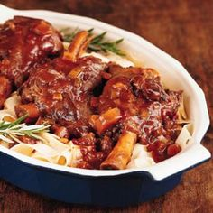 Slow-Cooker Braised Lamb Shanks in a red wine sauce