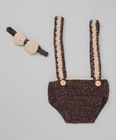 Who has a baby boy?  Brown Suspender Crocheted Diaper Cover & Bow Tie - Infant