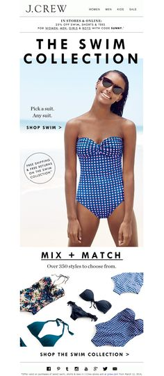 #newsletter J.Crew 03.2014 The best bikinis, one-pieces and rash guards this side of the equator