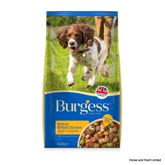 Burgess Adult Dog Rich in Chicken Burgess Adult Dog Rich in Chicken has tasty moist chicken chunks naturally rich in protein for good muscle development and maintenance.
