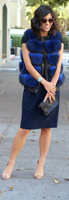 Cobalt blue fur vest