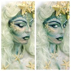 ‏via ‏We hope you had an amazing Halloween! Did you see our mermaid tutorial with Dollface Nov 1 We hope you had an amazing Halloween! Did you see our mermaid tutorial w. Mermaid Parade, Fantasy Make Up, Fantasias Halloween, Theatrical Makeup, Make Up Art, Special Effects Makeup, Maquillage Halloween, Crazy Makeup, Mermaid Makeup