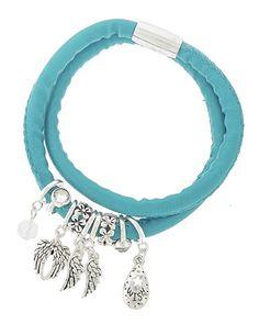 Antique Silver Tone / Black Leatherette / Turquoise Stone / Lead Compliant / Western Theme Charm / Wrap Bracelet
