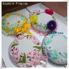 Pincushion ribbon embroidery , งานปักริบบิ้น