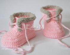 Crochet baby booties baby girl shoes boots by EditaMHANDMADE
