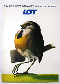 Vintage LOT Polish Airlines poster by Janusz Stanny, Retro Advertising, Vintage Advertisements, Vintage Birds, Vintage Images, Pop Art, Polish Posters, Vintage Travel Posters, Vintage Airline, Art Deco Posters