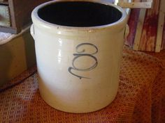 Stoneware Crock With Blue Design by Serenities on Etsy, $100.00