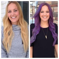 Before and after Loreal Professional hair chalk. Lasts 2-8 shampoos.
