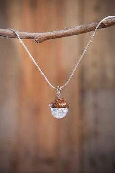 Acorn PENDANT with Quartz + Sterling Silver by NuttierThanASquirrel | $15.00