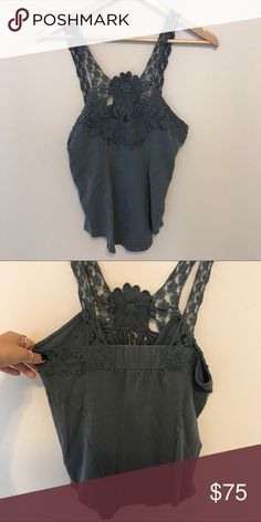 Free people detailed lace tank So cute and comfy! Open to offers. Free People Tops Tank Tops