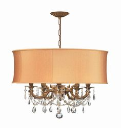 Crystorama Ornate Casted Aged Brass Chandelier with Clear Swarovski Spectra Crystal and a Harvest Gold Shade 5 Lights - Aged Brass - 5535-AG-SHG-CLQ