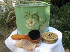 Vintage Tole Painted Tin Shoe Shine Box with by nestingwren, $50.00