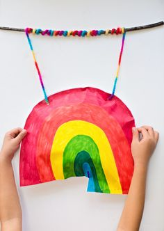 hello, Wonderful - KID-MADE PUFFY PAPER RAINBOW STICK MOBILE