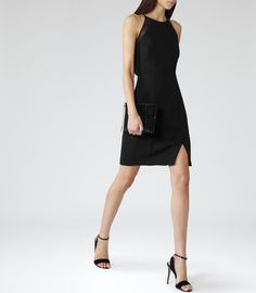 Womens Black Sheer-panel Dress - Reiss Cavella
