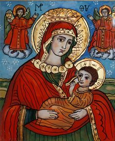 Maica Domnului alaptandu-L pe Iisus, icoana pe sticla specific Tara Barsei Christian Paintings, Mother Mary, Religious Art, Romania, Madonna, Christianity, Postcards, Coloring Pages, Child