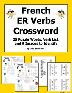 French ER Verbs Crossword Puzzle, Image IDs, and Verb Lists by Sue Summers