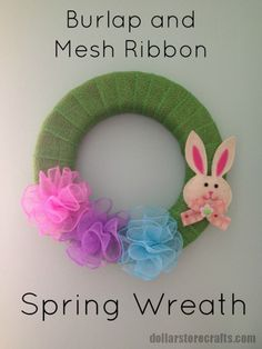 Make a Burlap and Mesh Flower Spring Wreath