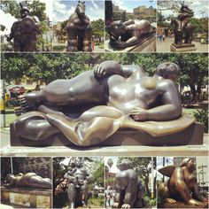 Plaza Botero in Medellín, Antioquia - a plaza filled with some of Fernando Botero's most famous sculptures Famous Sculptures, Four Square, South America, Caribbean, Statue, Landscape, Architecture, Art, Fernando Botero