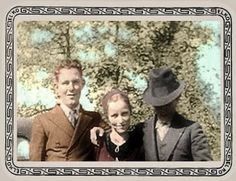 colorized photo of LC Barrow, Bonnie Parker, and Clyde Barrow