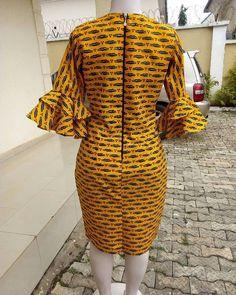 African print midi dress -Ankara dress-Midi dress- dress-Ankara dress with peplum details -African clothing -women clothing African Print Dresses, African Dresses For Women, African Attire, African Fashion Dresses, African Outfits, African Clothes, African Prints, Fashion Outfits, Ankara Maxi Dress