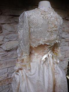 CUSTOM Handmade Peach Cream Victorian Wedding Lace by Arabescque, $199.99