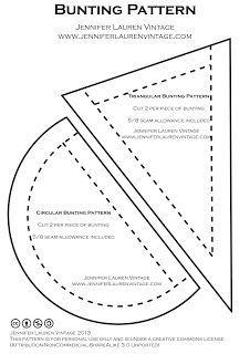 Jennifer Lauren Vintage: Tutorial - Make Bunting (with free pattern! Bunting Template, Bunting Tutorial, Bunting Pattern, Make Bunting, Fabric Bunting, Bunting Ideas, Garland Ideas, Sewing Hacks, Sewing Tutorials