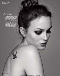 Leighton Meester's bird tattoo on shoulder.