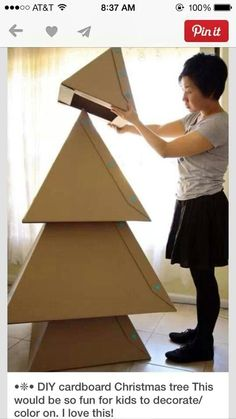 Cardboard Christmas tree for the kids to color and decorate.