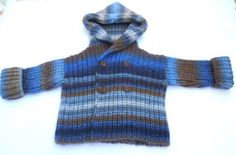 Hand Knitted Baby Boy Pure Wool Hoodie by KnitForYourBaby on Etsy, $49.00