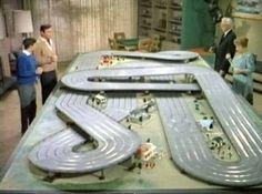 Slot racing - cool hard plastic toys 1940s 1950s 1960s.