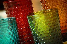 Hobnail glasses (Check Etsy, Amazon, eBay or your local flea markets)