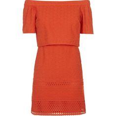 TOPSHOP Embroidered Bardot Dress (8.838 BHD) ❤ liked on Polyvore featuring dresses, topshop, vestidos, orange, red off shoulder dress, cut out dress, embroidery dress i red embroidered dress