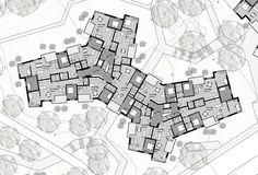 Hochparterre - Wettbewerbe - Doppelte Dichte Concept Architecture, Architecture Design, Hotel Floor Plan, Apartment Floor Plans, Student House, Residential Complex, Urban Planning, Building Plans, Planer