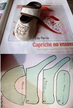 Chest of Vovó⊱✿◕‿◕✿⊰guardados. Doll Shoe Patterns, Baby Shoes Pattern, Sewing Patterns, Sewing For Kids, Baby Sewing, Baby Knitting, Crochet Baby, Diy Pour Enfants, Sewing Crafts