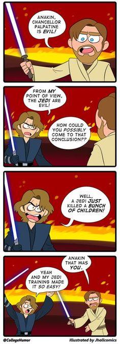 Memes of the Star Wars Prequels. Star Wars Trivia, Star Wars Jokes, Star Wars Facts, Star Wars Rebels, Star Wars Klone, War Comics, Funny Comics, Anakin Vader, Rasengan Vs Chidori