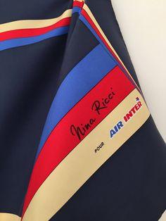 Nina Ricci / vintage silk scarf / blue scarf / square scarf / airline uniform / air inter / air france by LOFTOWN on Etsy