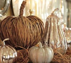 fall decor. artful blend of natural fibers and chic-shiny. call it rustic glam? or rustiny? chicstic?