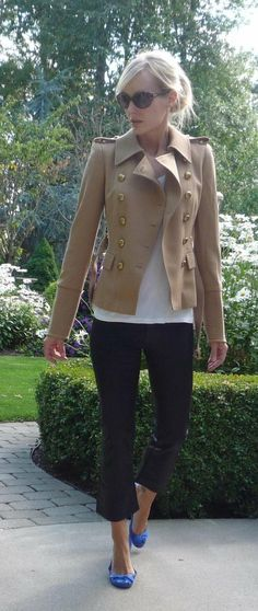 Love the neutral military style jacket with pop of color shoes.