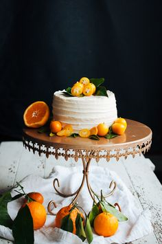 Satsuma and Dulce de Leche Layer Cake with Candied Kumquats