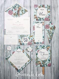 Invitación boda Botanical. Invitaciones personalizadas. Papelería boda. Diseño gráfico. Invitación pájaro. Minuta boda. Pai pai boda. Cucurucho arroz boda. Mesero boda. Seating boda.