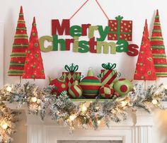 Red, Lime Green and Green Pre-lit tree sets, flocked Christmas Ball and Present