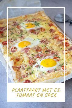 Plaattaart met ei, spek en tomaat - Foodaholic.nl Breakfast Recipes, Dinner Recipes, Confort Food, Bbc Good Food Recipes, Fabulous Foods, High Tea, Food Art, Bacon, Pizza