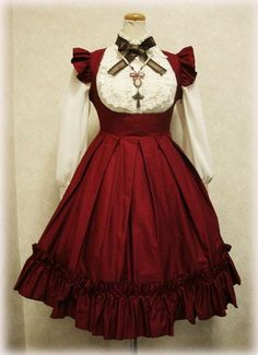 This would be really cute with some black or brown boots, a red caplet with hood, and a basket. Very cute for red riding hood themed coord.
