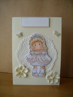 Personalised Magnolia Tilda Card by AuntyJoanCrafts on Etsy, £2.50