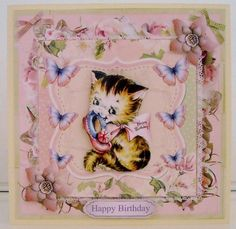 Sweet Kitten Birthday Mini Kit   Decoupage   Choice of Ages on Craftsuprint created by Pam Stubley - I printed the card elements onto 230gsm photo paper and the insert onto 100gsm paper and cut out all the pieces.  I attached the main image and insert onto a lemon, linen-effect base card and added the decoupage and a sentiment using foam pads. a super cute card which is easy to make and sure to delight