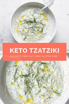 This keto tzatziki recipe is perfect for your next salad and kebab party! It's made with the healthiest ingredients like cucumbers, Greek yogurt, and olive oil. CLICK HERE FOR THE FULL RECIPE! #realbalancedblog #healthyfood #mediterraneanfood #keto #nut-free Primal Recipes, Good Healthy Recipes, Ketogenic Recipes, Low Carb Recipes, Whole Food Recipes, Diet Recipes, Family Recipes, Sauce Recipes, Ketogenic Diet