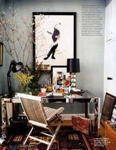 great workspace.  Michael Bastian / Melanie Acevedo / Domino {eclectic vintage art deco modern study}