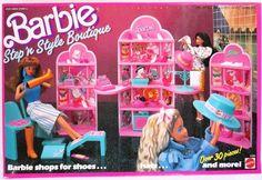 Barbie Step 'n Style Boutique Playset by Mattel, 1988 Mattel Barbie, Old Barbie Dolls, 1980s Barbie, Barbie Shop, Vintage Barbie Dolls, Barbie And Ken, Vintage Toys, Barbie Stuff, Barbie Clothes