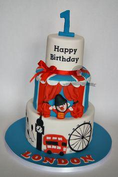 Bumba in London City 1st Birthday Cake  British/Big Ben/Circus/Baby Boy/Birthday