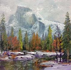 Donald Neff - Misty Half Dome, 6x6,oil on panel, SOLD